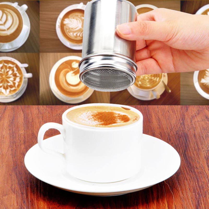 1Pcs Stainless Steel Coffee Sugar Shaker Cocoa Powder Chocolate Duster Cinnamon Dusting Tank Kitchen Filter Bottle Drinking Tool