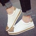 Новый дамы повседневная обувь Мода плоским круглый носок женская обувь зашнуровать белый обувь роскошные платформа дышащий zapatos mujer