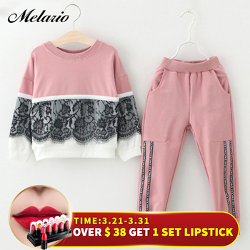 Melario Girls Clothing Sets 2017 Brand Style Kids Clothing Sets Cotton Rose Floral Embroidered Sequinsets Children Girls Suit conjuntos casuales para niñas