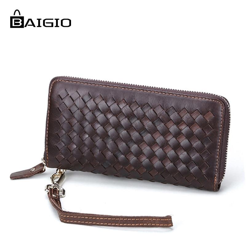 Baigio Women Purse Weaving Leather Wallets female Genuine Leather Classic Purse Card Holder Purse Coins Purse