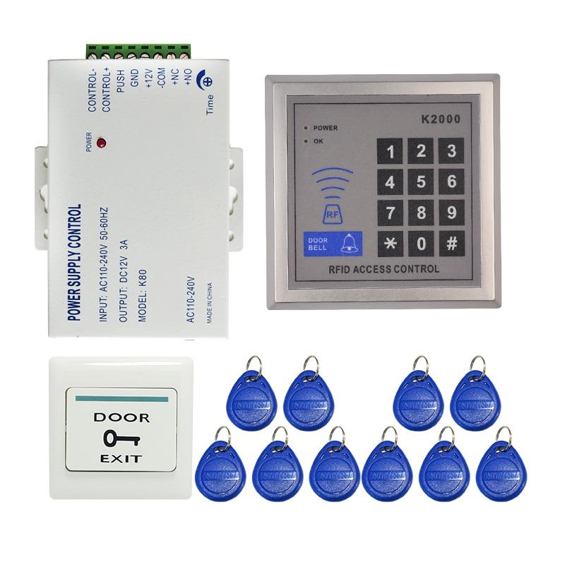 ФОТО Brand New 125KHZ DIY RFID Door Access Control System Kit Set + Power Supply Control + Rfid Reader Code Keypad + Free Shipping