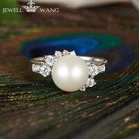 JEWELLWANG Pearl Ring естественный пресноводный Ювелирные изделия из жемчуга для девочек блестящие кольца 925 пробы Серебряные кольца для Для женщин