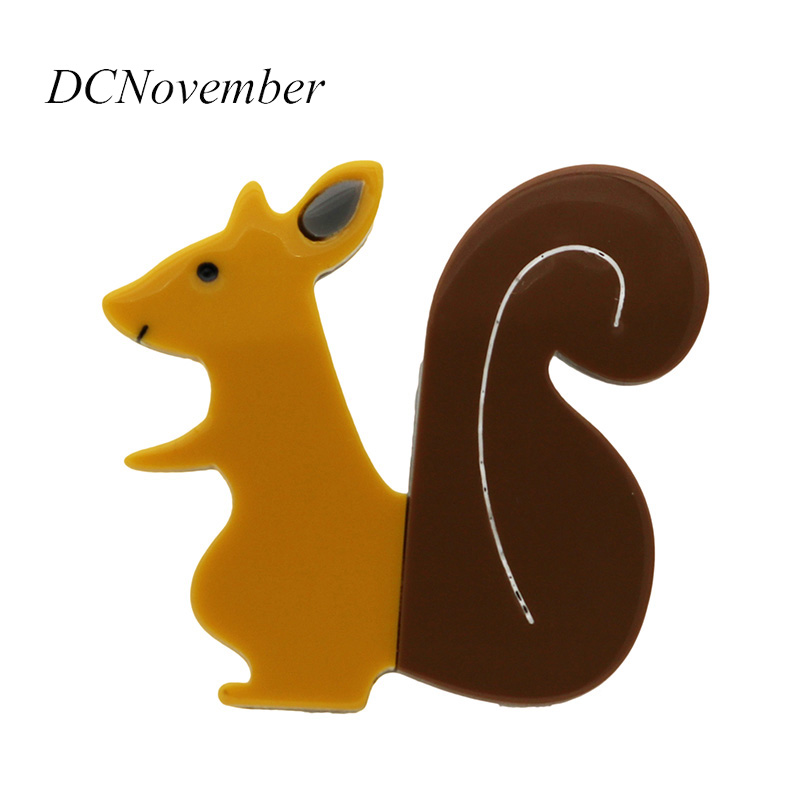 New Arrival Acrylic Acetate Squirrel Brooches Women Vintage Animal Brooch Pin Jewelry Banquet Weddings