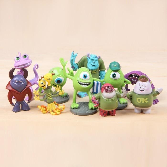 10pcs/Set Monsters Inc. Monsters University <font><b>Mike</b></font> Sully Mini PVC <font><b>Action</b></font> <font><b>Figure</b></font> Toys Dolls Boys Toys Gifts 4-7cm