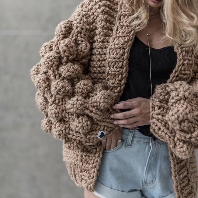 Elegant Autumn Handmade Knitted Sweater Women Cardigan Coat Female Ball Lantern Sleeve Casual Knitwear Outwear Women Poncho