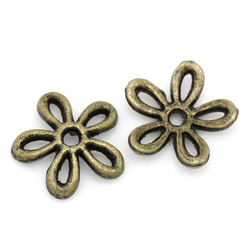 Bead Caps Flower Antique Bronze 11x11mm,Hole:Approx 1.6mm,25PCs