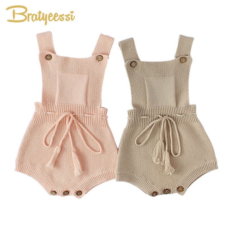 New Princess Baby   Rompers   with Tassels Knitted Toddler Jumpsuit Sleeveless Solid Infant Overall Onesie for Baby Girl Clothes 1PC