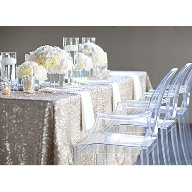 Exceptional ShinyBeauty 60inX 102in Silver Sequin Wedding Table Cloth Sparkle Sequin  Linens Sparkling Sequin Table Overlay