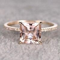 8mm Princess Morganite Engagement Ring Yellow Gold Topaz Wedding Band Gemstone Promise Ring Bridal Ring Thin