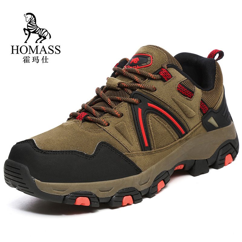 Men Hiking shoes 2019 Autumn Male Waterproof Climbing Mountain Shoes Outdoor Anti-skid Genuine Leather Trekking Sneakers for Men
