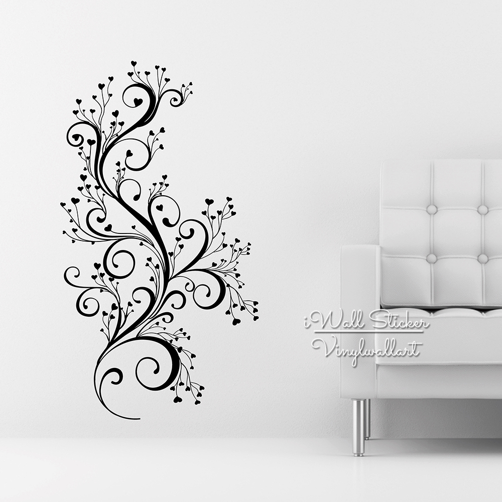 Beautiful flower wall sticker floral wall decal diy modern - Beautiful wall stickers for living room ...