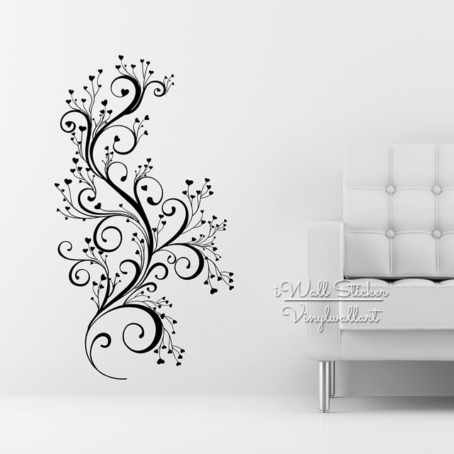 Beautiful flower wall sticker floral wall decal diy modern blossom wall stickers living room decors cut