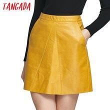 fa4fcf8909c032 Tangada Mode 2017 Lente Vrouwen Geel Faux Lederen Rok Met Pocket Sexy Saias  feminina faldas Vrouwelijke Mini Rokken Vrouwen