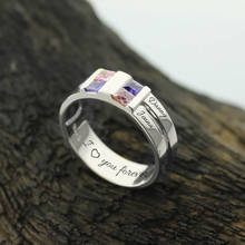 Customized Four Stone Grooved Men's Ring