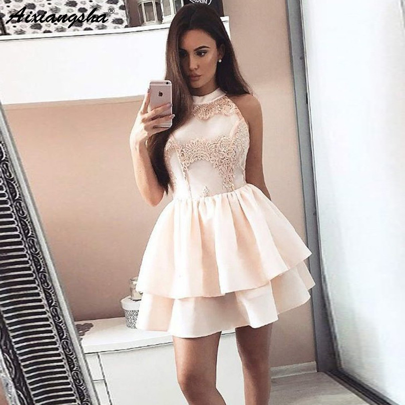 Cute A Line Halter Open Back Satin Lace Graduation Homecoming   Dresses   Elegant Short Mini Prom Party   Cocktail     Dresses