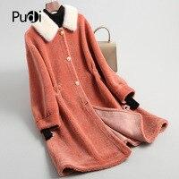 PUDI A18195 women's winter real wool fur coat mink collar warm jacket coat lady Long coat jacket overcoat