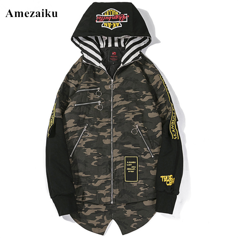 winter coat New cotton-padded clothes men and women Camouflage zipper fashion high street loose hooded printing thick clothing ...