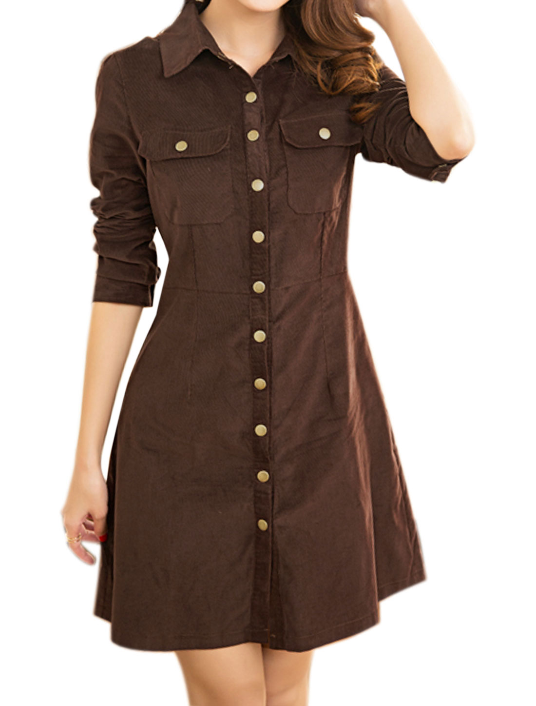 Allegra K Women Snap Button Flap Pockets Slim Fit Corduroy Shirt