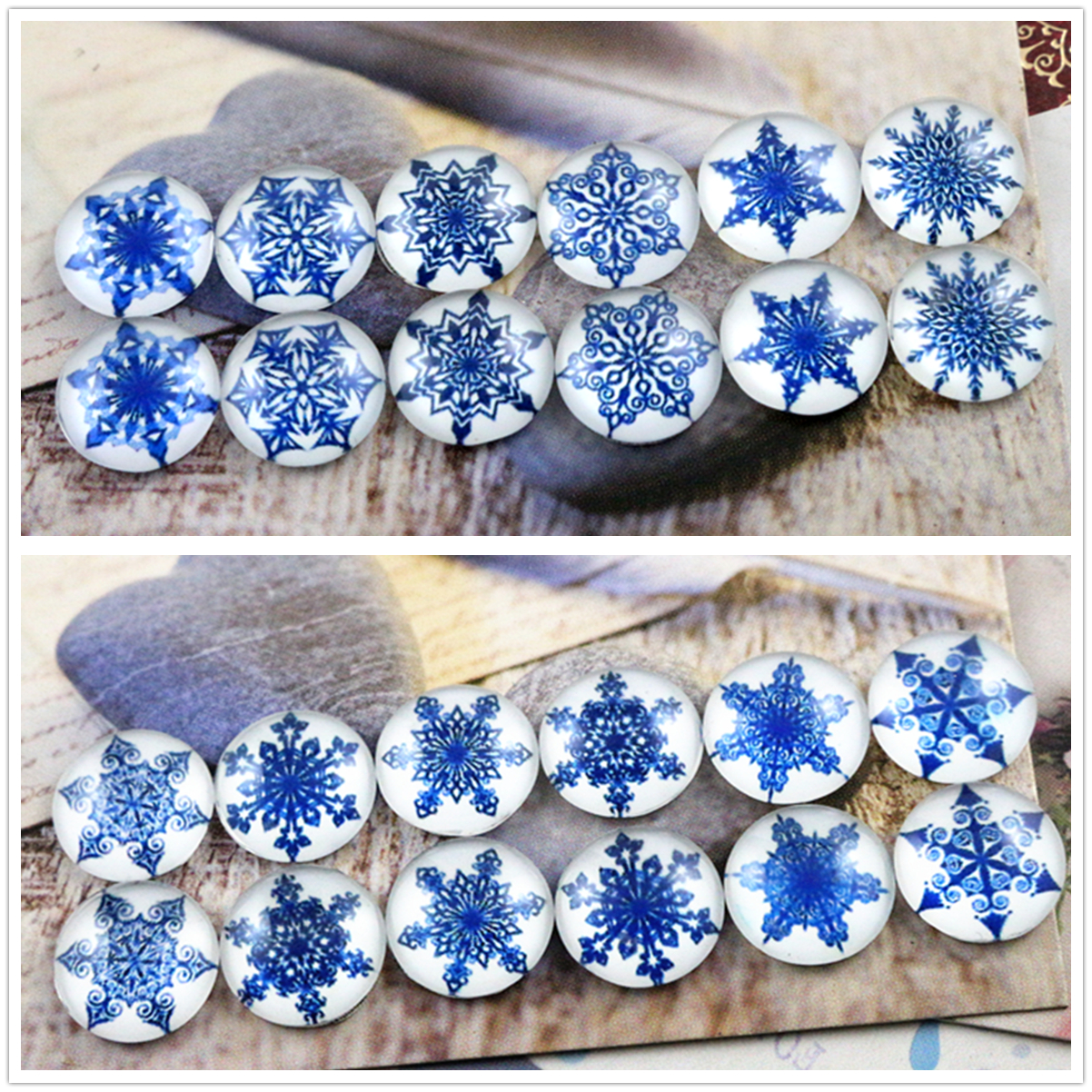12pcs/lot (One Set) Two Style 12mm Blue Snowflakes Handmade Glass Cabochons Pattern Domed Jewelry Accessories Supplies 12pcs lot one set two style 12mm blue snowflakes handmade glass cabochons pattern domed jewelry accessories supplies