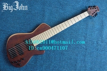 free shipping new Big John the 6 strings electric bass guitar in brown with elm body and black hardware JT-15