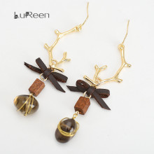 Original Beautiful Pendant Earrings Citrine Staghorn Geometric Long Natural Stone Earrings