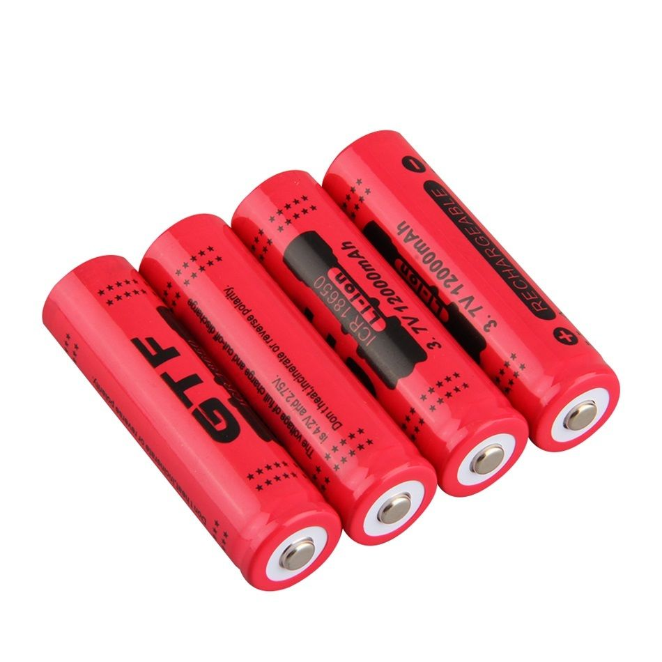 GTF 4pcs/lot 18650 Battery 3.7V 12000mAh Rechargeable Li-ion Battery for LED Torch Flashlight Rechargeable Batteries accelerater