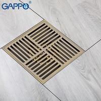 Gappo high quality brass Floor drains bathroom kitchen drains brass square deodorazation strainer