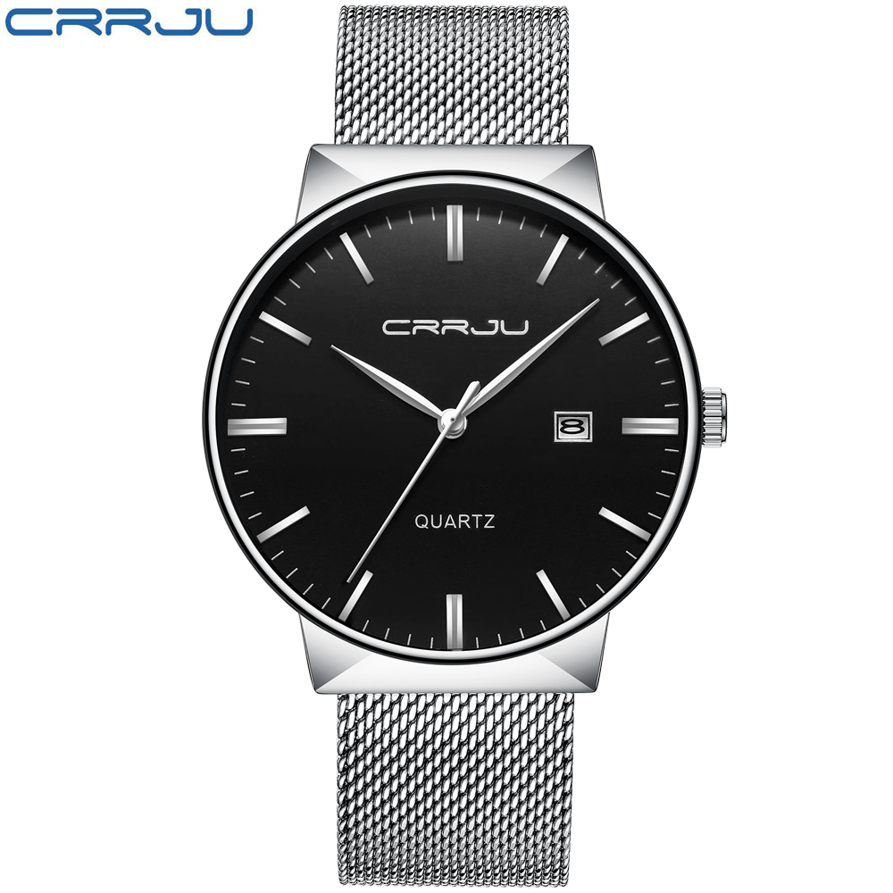 Топ Элитный бренд CRRJU черный часы для мужчин нержавеющая сталь сетки Mtrap кварц-часы ультра тонкий циферблат часов Человек Melogio Masculino