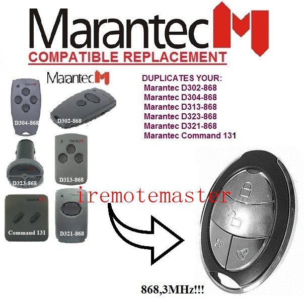 Replacement remote for MARANTEC Command 131 D302-868,D304-868,D313-868,D323-868,D321-868 remote marantec d302 868 d304 868 d313 868 d321 8 replacement remote control 868mhz free shipping