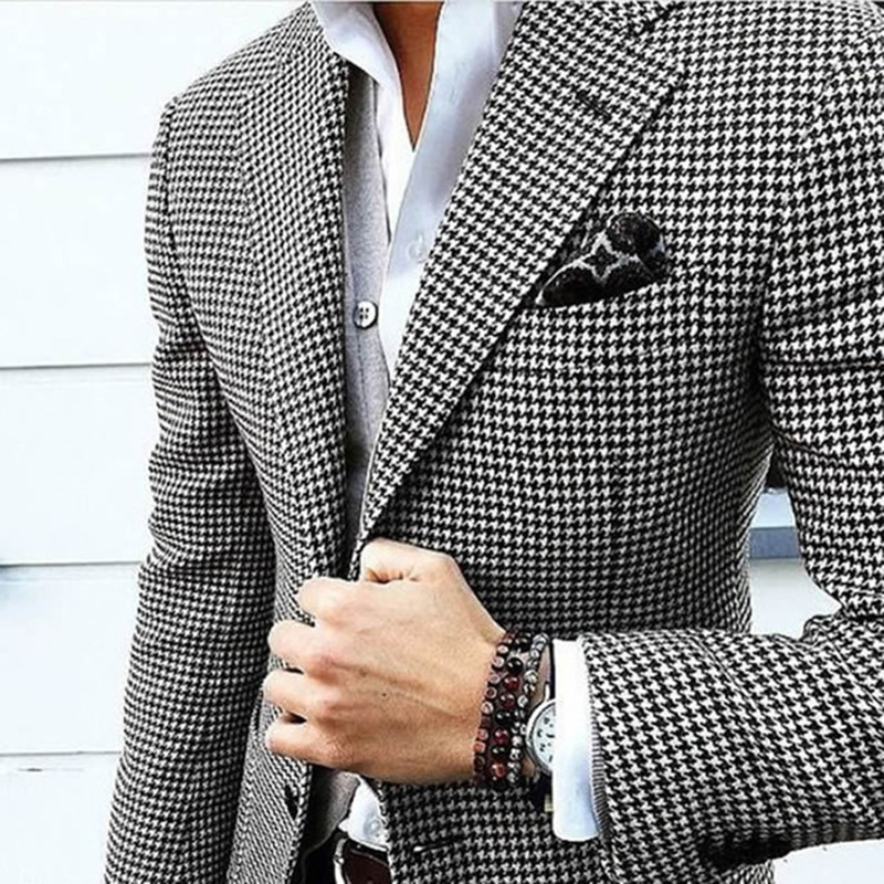 Houndstooth Custom Made Mens Checkered Suit Dress 2018 Tailored black Weave Hounds Tooth Check wedding men suits jacket+pants