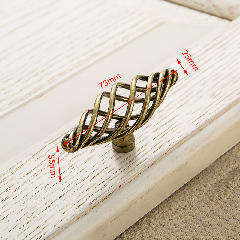 KAK винтажные антикварные бронзовые ручки для шкафа, полые ручки для птичьей клетки, ручки для выдвижных ящиков, Съемники дверей шкафа, Мебельная ручка - Цвет: 3101 Bronze