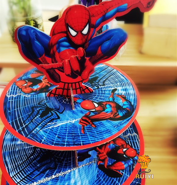 1set cartoon Anime Avengers spider-man baby shower birthday party decorations supplies cardboard cupcake stand hold 24 cupcakes image