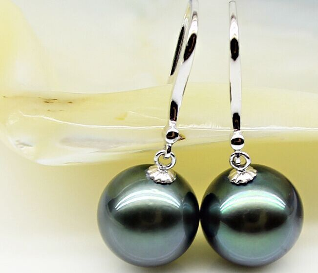 Free shipping >>>AAA++10 11mm natural tahitian round black pearl earring
