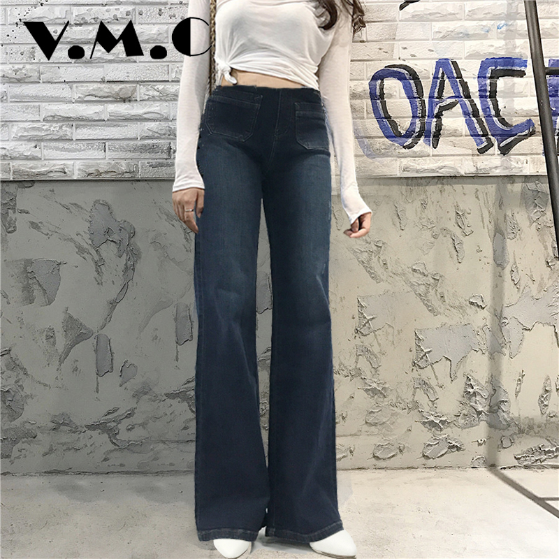Women bell bottom Flared Jeans Low Waist Skinny Vintage Style Trousers Famale Blue Solid VMC Brand