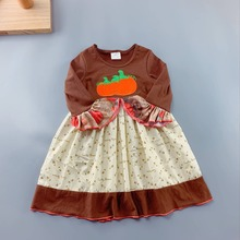 Novel Fall 100% Cotton Pumpkin embroidery Dress And Baby Girls Same Style brown