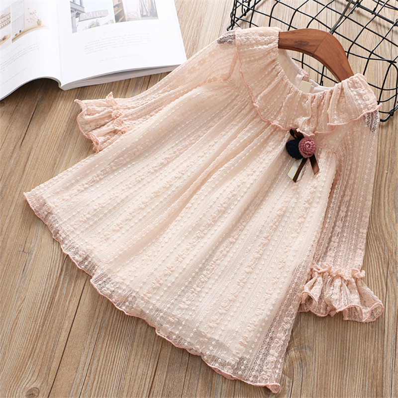 Hurave Baby Girls Dress Clothes Children long Sleeve Dress Kids turn-down collar mesh solid lace ruffles Dresses original plate s42ax yd05 yb04 lj41 05077b lj92 01484b buffer board used