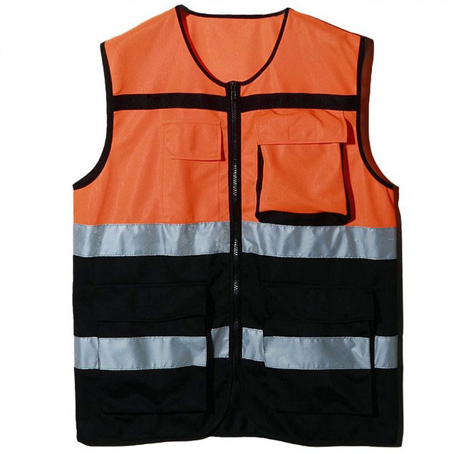 ФОТО Cycling reflective vest safety gear night reflective jacket yellow and orange free size customize logo printing V120025