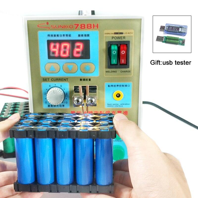 SUNKKO 788 H soudage par points batterie d'impulsion soudeurs par points LED éclairage 18650 batterie au Lithium charge + testeur de batterie 110 V 220 V soudure