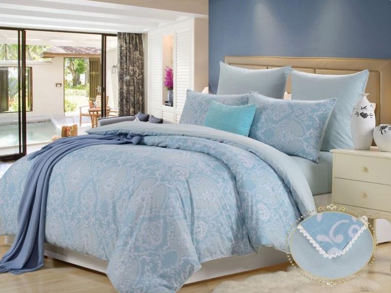 Bedding Set double-euro KAZANOV. A, Alma, sky blue bedding set family kazanov a peplum