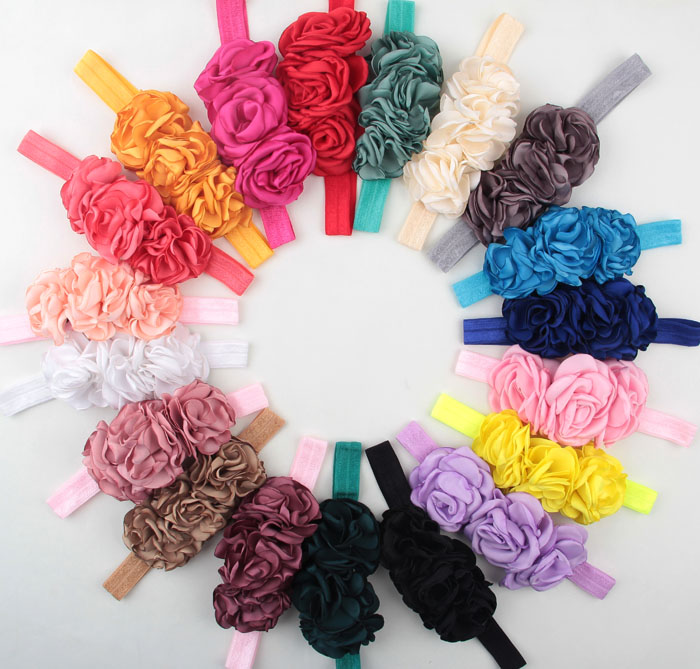 10pcs/lot 19 Colors Layered Flower On Elastic Headband Handmade Fabric Flower Kids Headband Cute Baby Girl Hair Accessories