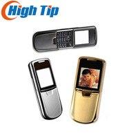 Nokia originale 8800 telefono cellulare in oro Inglese o tastiera russa con caricabatteria da tavolo cinturino in custodia in pelle Freeship Ristrutturato