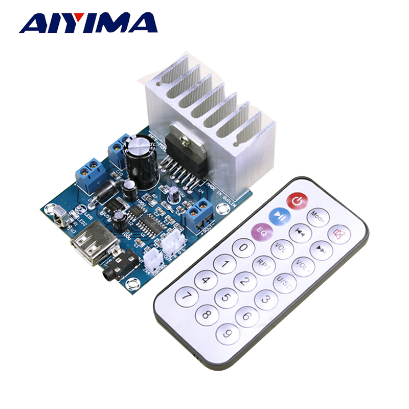 AIYIMA 2.0 Amplificador TDA7297 Power Amplifiers Audio Board With MP3 WAV Lossless Decoder Board 12V 15W x 2 Amp Board
