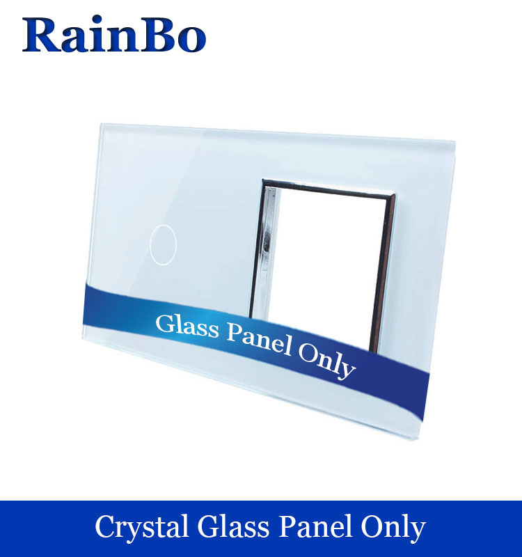 rainbo Free shipping Luxury Crystal Glass Panel 2Frame 1gang touch wall switch socket hole EU for