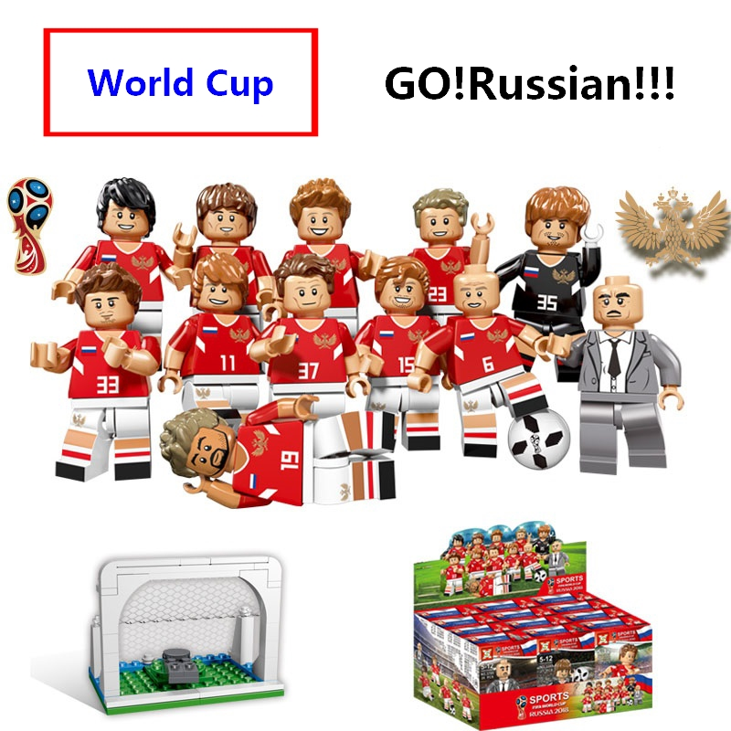 12pcs World Cup 2018 football team sports Figures Building