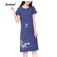 New Fashion Cotton Linen Vintage Print Plus Size Women Casual Loose Summer Dress Vestidos Femininos Party