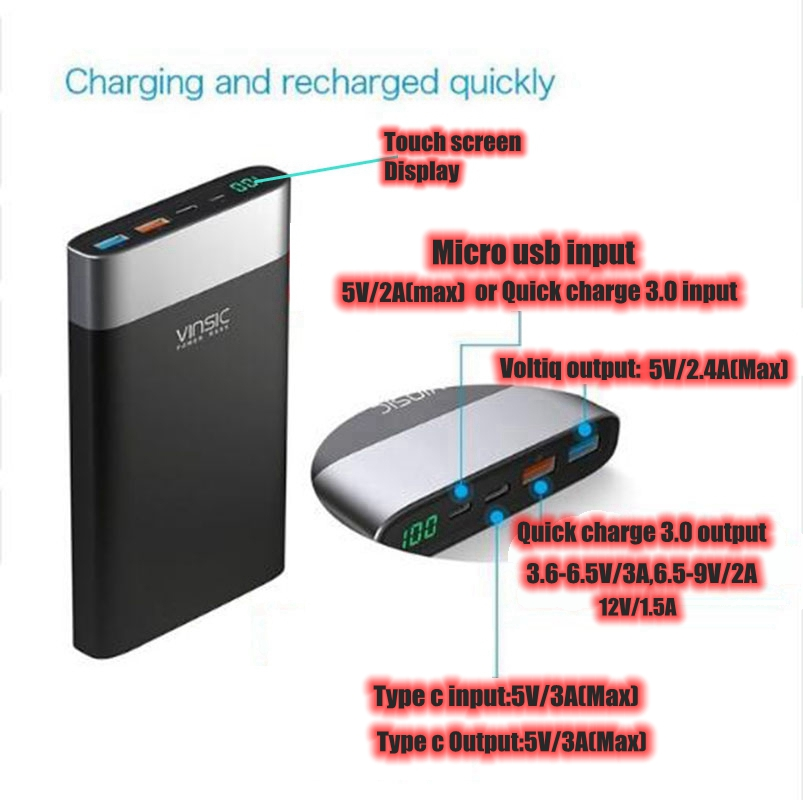 Vinsic 20000mah Power Bank Quick Charge 3 0 QC3 0 2 4A 3A Type C for