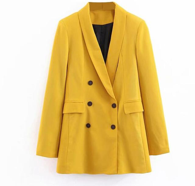 2019 femmes Double boutonnage Long Blazers bureau dame petit costume veste dames loisirs jaune Blazer lâche manteau Streetwear 4
