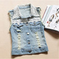 Women's Clothing Female Vest Denim Vest Women Denim Tassel Vest Lace Sleeveless Gilet Short Waistcoat