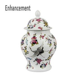 Antique Luminous Ceramic General Tank Vase Noctilucence Flowers Hat-covered Ginger Jars Ornament Creative Gift(China)