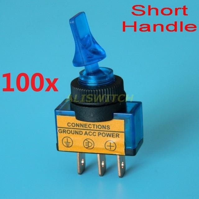 100pcs/lot SPST Blue Lamp led Car Toggle Switch ASW 14D On Off 12V ...
